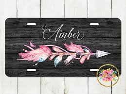 Design My Own License Plate Frame Personalized License Plate Feather Arrow Monogrammed