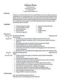 Nanny Job Description Resume Resume Template