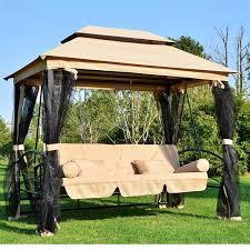 outsunny garden 3 4 seater swing chair bed swing hammock w mesh