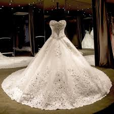 crystal beading ball gown sweetheart cathedral train wedding dress