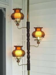 tension pole floor lamp vintage 3 amber hobnail hurricane shade brass tension pole floor lamp light
