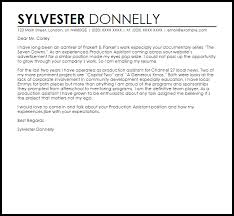 Film Production Assistant Cover Letter Production Assistant Cover Letter Example Film Assistant Director