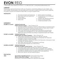 Tech Resume Examples Amazing Automotive Technician Resume Samples Download Auto Mechanic Resume