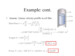assume linear velocity profile in oil