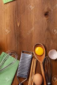 Kitchen Pastry Inventory Lies On The Wooden Table Butter Eggs
