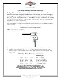 Briggs Spec Chart Briggs And Stratton Specs Throttle Slide Set Up Briggs