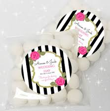 Black Stripe Roses Personalised Wedding Day Table Sweet Bags Favours KIT x12