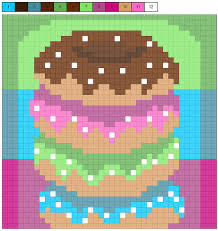 White lines on a color. Donuts Pixel Grid Mixed Media By Delyth Angharad