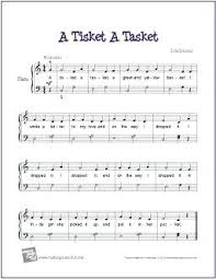 A Tisket A Tasket A A Piano Sheet Music Beginner Easy Free Printable