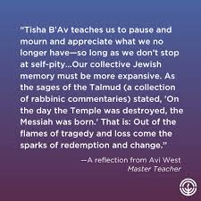 Lessons from Tisha B'Av: From Tragedy and Loss, Comes Life and New  Beginnings - Jewish Federation of Greater Washington