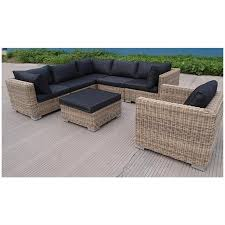 Apollo 7-Piece Brown Wicker Lounge Set with Charcoal Cushion