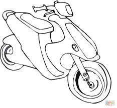 New Bike Coloring Page Scooter Vitlt Free Coloring Book