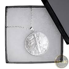 american silver eagle coin necklace pendant chain in gift box