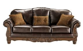 North Shore Living Room Set North Shore Old World Dark Brown Wood Leather Sofa Living Rooms