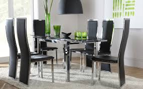 dining room glass dining room sets glass dining tables with wood base black chairs and
