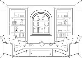 Kamer Met Groot Raam Outline Plat Interieur Contour Lineaire