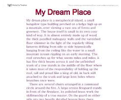 Dream Vacation Essay Essay On My Dream Holidays College Paper Example November