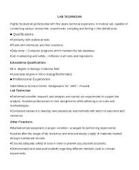 Cover Letter For Lab Technician Resume Sample Directory