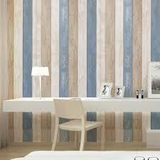 Haokhome Hout Strip Panel Schil En Stok Behang Zee Blauwcrèmetan