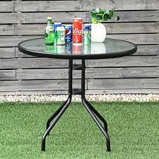 32 outdoor patio round tempered glass