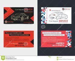 Set Of Automotive Service Business Cards Layout Templates Stock