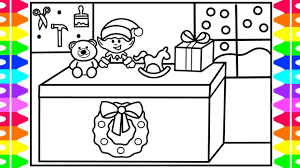how to draw santa s work cute elf elf making toys santa s work coloring page