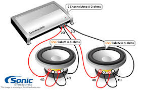 subwoofer wiring diagrams sonic electronix two dual 4 ohm subs 2 ohm 2 chan amp see diagram