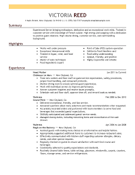 Examples Of Resumes For Restaurant Jobs Amazing Free Resume Examples By Industry Job Title LiveCareer