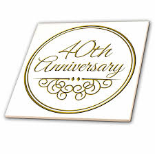 3drose 40th anniversary gift gold text for celebrating wedding anniversaries 40 years married together ceramic tile 4 inch walmart