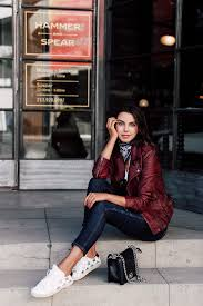 a red leather jacket like this one is perfect for autumn afternoons out in the city