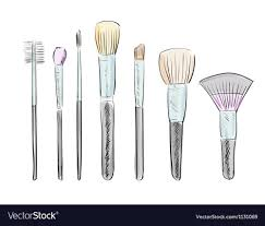set of hand drawn makeup brushes vector image