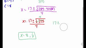 algebra 9 5 solving quadratic equations by using the quadratic formula