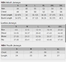 Nba Jersey Size Chart Adidas Nba Jersey Size Chart Best Picture Of Chart
