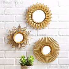 3 piece mirror set round sunburst gold finish home livingroom indoor wall decor 1 of 12only 2 available see more
