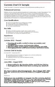 Chef Cv Template Commis Chef Cv Sample Myperfectcv