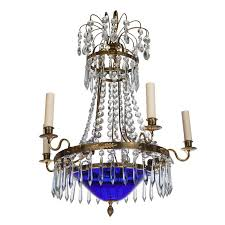 swedish five light chandelier with cobalt blue bowl and crystal for