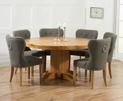 mark harris turin solid oak dining set 150cm round with 4 kalim grey chairs