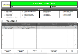 job safety analysis template job safety analysis template risk ranked landscape