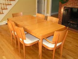 heywood wakefield dining table 4 armless chairs with white vinyl
