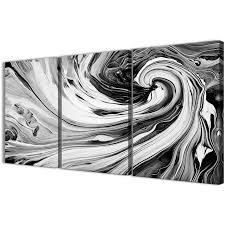 black white abstract art black white grey swirls modern abstract canvas wall art split 3