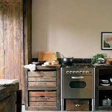 salvaged kitchen old wooden crates as cabinets