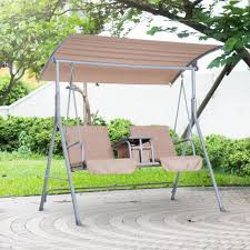 outsunny 2 person outdoor patio porch swing double seat with canopy stand