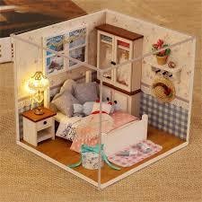 diy house assemble miniature dollhouse led furniture kit xmas gift com