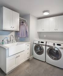 Laundry Sink Cabinet Laundry Room Transitional with Apron Sink Clothes Rod