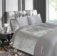 cool crushed velvet bedding luxury silver grey or champagne duvet quilt cover i t e m d c r p o n next b box and curtain pink gold dunelm