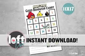 Angry Birds Behavior Chart Angry Birds Good Behavior Chart Behavior Incentive Sticker Chart Red Chuck Jay Jake Jim Bomb Angry Birds Pigs