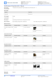 Verification Checklist Blank Template Use This Vc Checklist