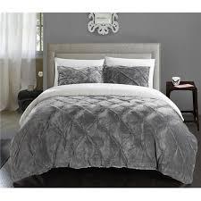pintuck sherpa lined comforter set