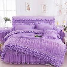 pink beige purple lace princess bedding set king queen size ruffles bedspread bed skirt wedding duvet cover bed sheet linen pillowcases duvet covers