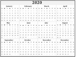 Printable Yearly Calendar 2020 Calendar Kart